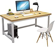Computer Desk,120cm Large Office Desk Computer Table with 2.5cm Thicker Tabletop Modern Simple Style Table St