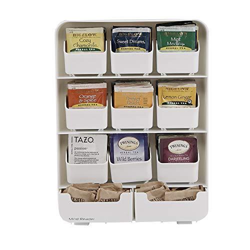 Teebeutelständer aus Kunsstoff, 9 Teebeutelkammer und 2 extra Kammern