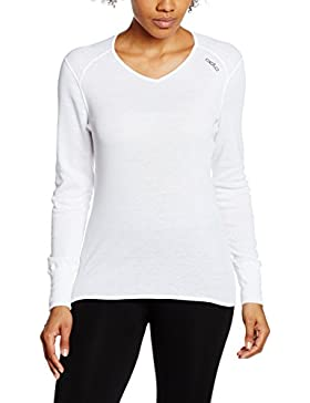 Odlo - Shirt L/S V Neck Warm Lady, color white, talla XS