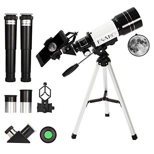 ESAKO Telescopio para niños y Principiantes 70mm telescopios astronómicos portátiles con teléfono Monte Luna Filtro y 3X Lente Barlow