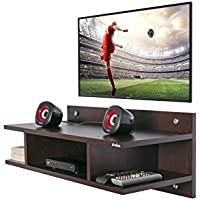Anikaa Saffron TV Wall Unit/TV Entertainment Units/ Wall Mounted TV Set Top Box Stand / Dvd Wall Shelf / Display Unit Wenge Finish- Medium