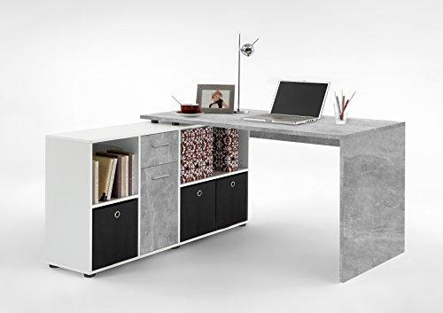 FMD Möbel Winkelschreibtisch LEX links rechts montierbar Beton Weiß by Wohnorama