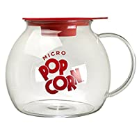 Ecolution Kitchen Extras Glass Microwave Popcorn Maker - Wide Mouth Design and Dual Function Lid - Temperature Safe Glass - Dishwasher and Microwave Safe - Glass with Red Accents - 3 Qts.
