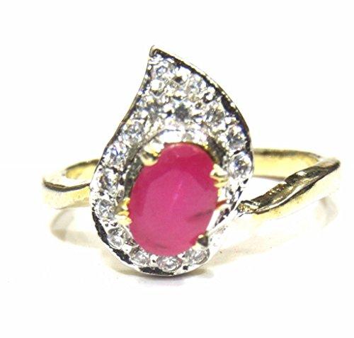 Big Red Jewel (jewelshingar Jewellery Vergoldet Weiß American Diamant Ring für Frauen (23405-ring-ruby))
