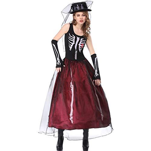 stüm Mädchen,Halloween Kleider, Damen Halloween Kostüme, Skeleton Ghost Braut Kostüme, Hexenkostüm Uniformen ()