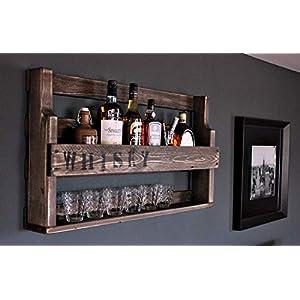 Whisky Regal aus Holz – mit Gläserhalter und WHISKY Schriftzug – Braun – Industrie Stil – fertig montiert – Wandbar…