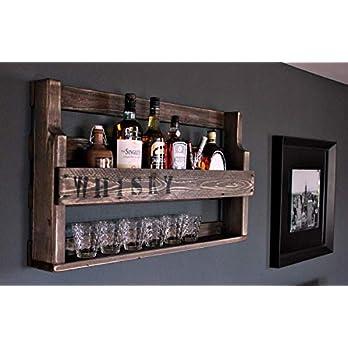 Holz Whisky Regal mit Gläserhalter und Schriftzug-fertig montiert braun Industrie Styl