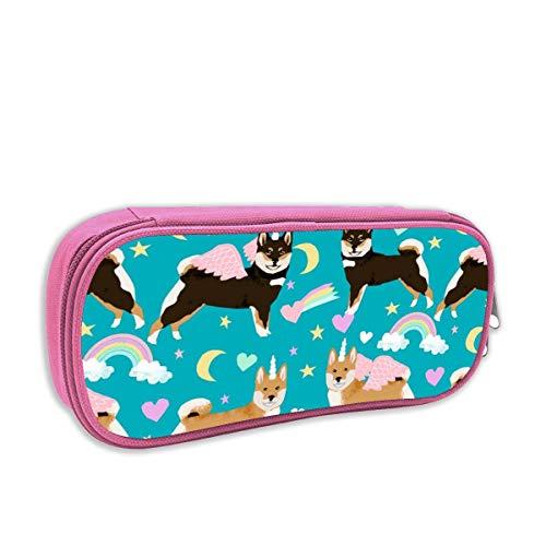 astuccio per bambini portatutto,Shiba Inu Dog Unicorn Fabric Rainbows Pastel Hearts Cute Dogs Tessuto, rosa