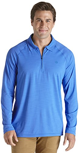 Coolibar Herren Golf Polo Shirt Long Sleeve UPF 50 Plus, Tradewind Blue, S, 01581-TB