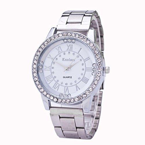 Preisvergleich Produktbild Internet Kristallrhinestone Edelstahl analoge Quarz Armbanduhr der Frauen der Männer
