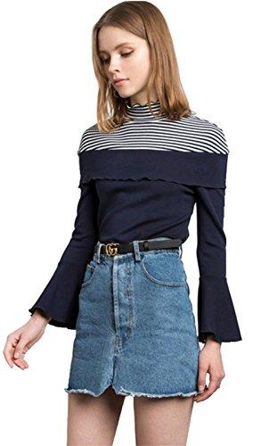 Moda Collo Alto a Volant Fondo a Maniche Lunghe Maniche a Campana Rigato A Righe Blouse T-Shirt Maglietta Top Blu Blu