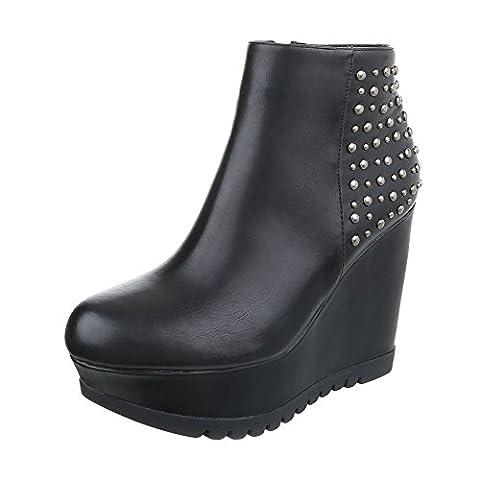 Keilstiefeletten Damen-Schuhe Plateau Keilabsatz/ Wedge Keilabsatz Reißverschluss Ital-Design Stiefeletten Schwarz, Gr 38, (Keilabsatz Schwarz)
