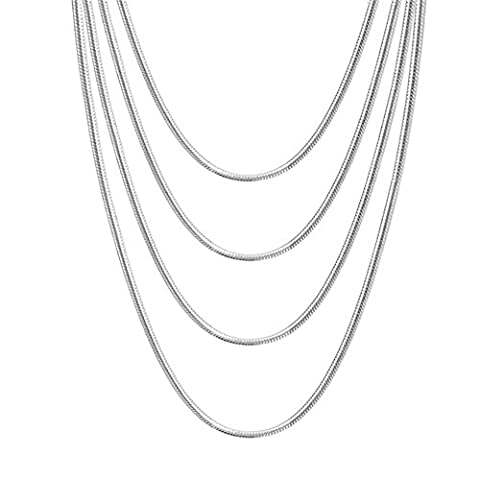 Vnox 4Pcs 4mm Stainless Steel Round Snake Chain Necklace Silver,Pack of 4(46cm+51cm+56cm+61cm)