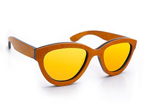 Dona  specchio Legno Bambù Occhiali Da Sole rispecchiata specchio lenti specchiate Protezione