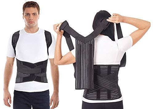 LUX FALTEN Haltungskorrektur Geradehalter Schulter Rücken Haltungsbandage Posture Corrector Haltungstrainer mit verstellbare Größe verstellbar aus dem hochwertigsten Neopren Schwarz Medium