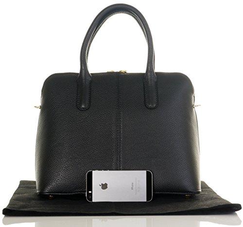 Italiano martellata Bowling stile borsetta Tote Grab Bag o borsa a tracolla in pelle.Include una custodia protettiva marca Nero
