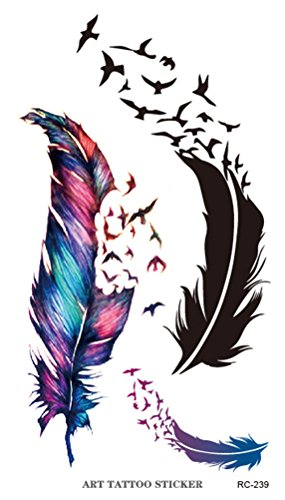 songqeetm-bird-feather-body-art-stickers-removable-waterproof-temporary-tattoo-pack-of-5