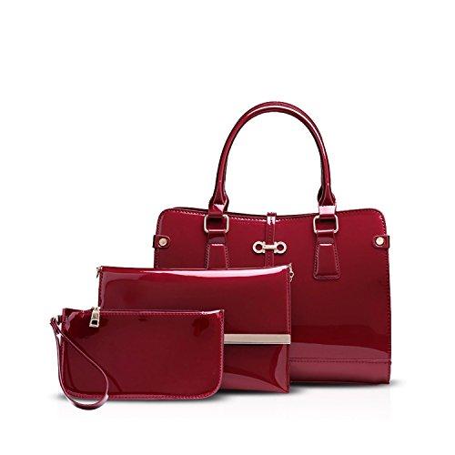 NICOLE&DORIS Elegant Stilvoll Damen Handtaschen Umhängetasche 3PCS Tasche Crossbody Bag Henkeltaschen Groß Schultertaschen PU Blau Rot