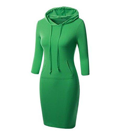 Heißer Verkaufs Frauen mit Kapuze Knie Längen langer Entwurfs Normallack Pullover Kleid Sweatshirts(L,Grün) (Länge Knie Pullover)