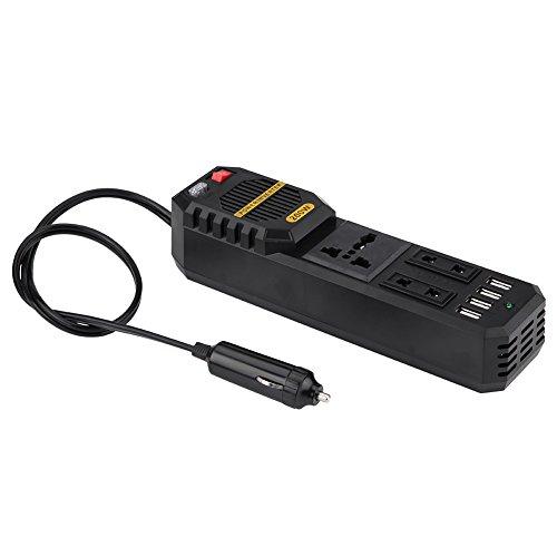 KIMISS KI6375 200W Power Inverter, Convertitore da auto DC 12V a AC 220V W/Accendisigari 4 USB Caricatore Porta di ricarica Universale per laptop, Smart Phone