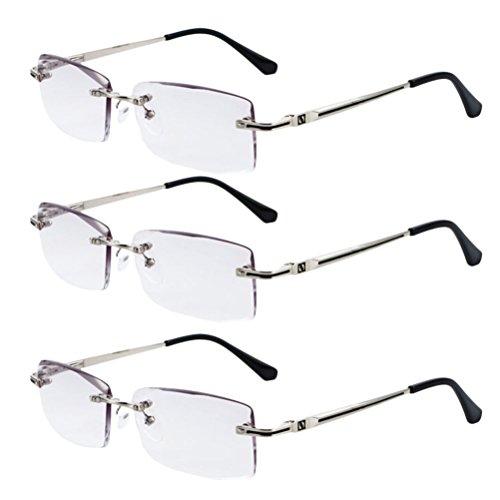 Zhhlaixing 3 Stueck Vintage Designer Style Herren Randlos Frameless Lesehilfen Lesebrille Reading Glasses 1,0 2,0 2,5 3,5 4,0 für Reader - 3 Stück Designer