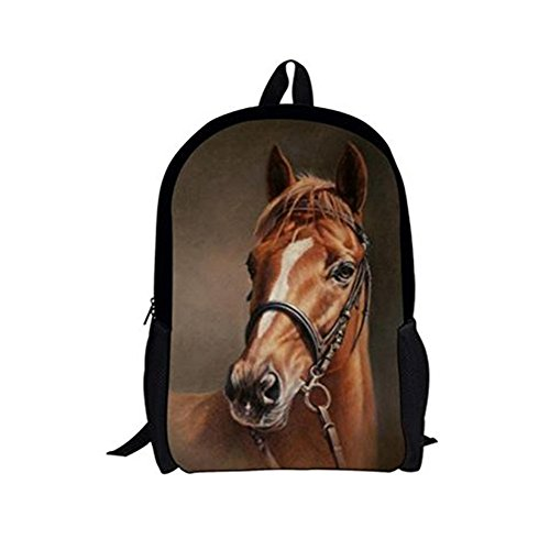 Vi.yo Schule Rucksäcke, Pferd 3D Gedruckt Daypack Kinder Schüler Rucksack Reise Camping Casual Schultertasche fit für Schule Reisen im Freien Mesh-schule-rucksäcke