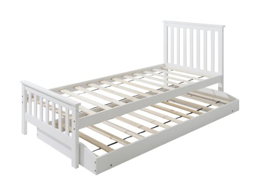 Noa and Nani Single Bed in White Trundle, Extra Sleepover Bed 2 in 1, Millie