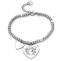Idea Regalo - Beloved Bracciale da donna, braccialetto in acciaio emozionale - frasi, pensieri, parole con charms - ciondolo pendente - misura regolabile - incisione - argento - tema famiglia (MF3)