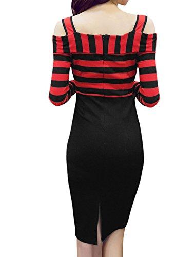 Femme Lanières Manches Longues Épaule Ajourée Rayures Robe Crayon Rouge