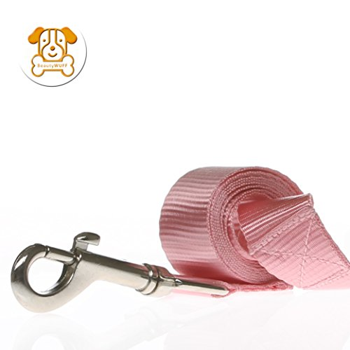 BeautyWuff Premium Hundeleine für große und kleine Hunde mit Handschlaufe | aus hochwertigem Nylon | Farben pink-rosa rot schwarz blau