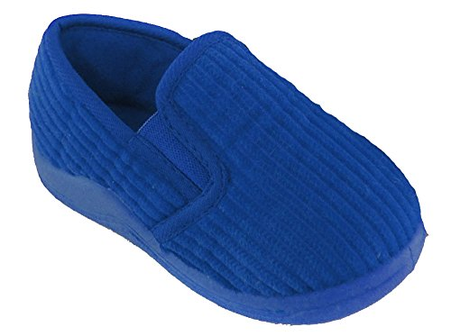 Kids Slip On Boys Kinder Classic Cord Style mit Fleece gefütterte Slipper FT0559 Marineblau