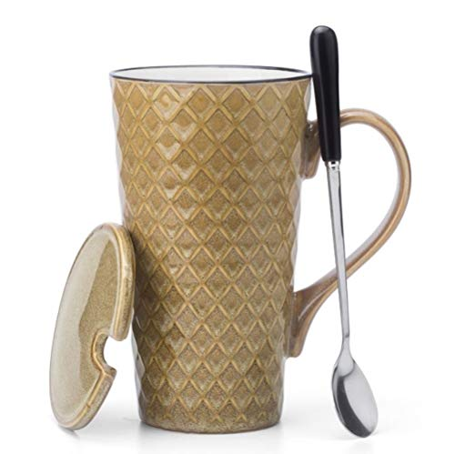 Fluteleo Europäische Retro Keramik Tasse Becher Gürtel Abdeckung Mit Löffel Personalisierte Büro Trinkbecher Kaffeetasse Männer Und Frauen Geschenk Tasse 500 Ml Gelb Anzug