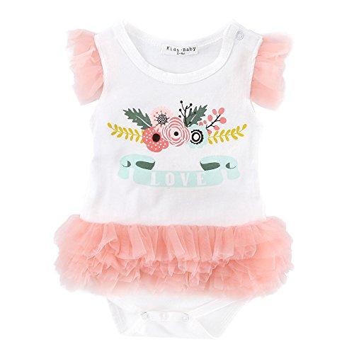 Sanlutoz Nouveau née Bébé Filles Bodysuit Barboteuse Tenues d'été d'anniversaire Jumpsuit fleurs Les vêtements (18-24 mois, YR1138)