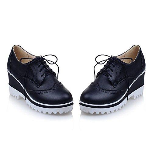 AgooLar Femme Lacet Pu Cuir Rond à Talon Haut Couleur Unie Chaussures Légeres Noir
