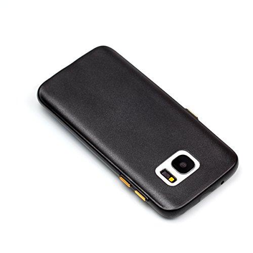 Galaxy S7 Edge Custodia, Galaxy S7 Edge G935 Cover, JAWSEU Ultra Sottile Slim Fit Morbida Silicone per Samsung Galaxy S7 Edge G935 Custodia Cover Case Puro Colore Matte Gomma Gel TPU Custodia Flessibi Puro Nero