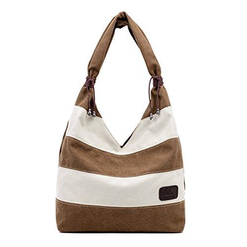Donna Tela Borsa Hobo Shopper Tote Stripe Borsa Multi-Colour Cucito Borsa A Tracolla Brown