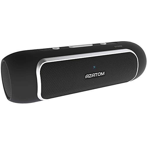AZATOM Storm - Powerful Bluetooth 4.0 Portable speaker with NFC - Dual Drivers - Twin Bass Woofers - 24W - 24hrs playtime - Patented UK design - Built-in Microphone for Calls iPhone, iPod, iPad, Samsung, LG and others - Black