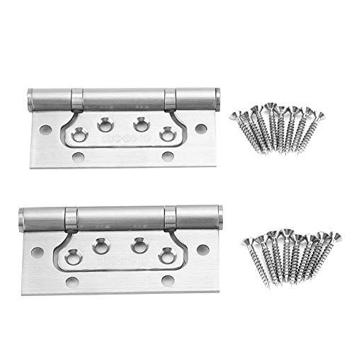 2Pcs Türscharniere, Edelstahl-Diebstahlsicherheits-flache offene Verschluss-Kugellager-Hardware-Scharnier mit Schrauben - Edelstahl-offene Kugellager