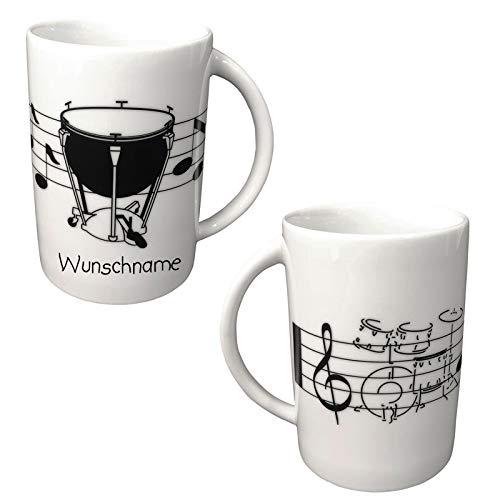 Doriantrade Becher aus Porzellan Musik Kaffeebecher personalisierbar mit Wunschname Name (Schlagzeug)