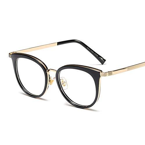 Klassische quadratische Brillen ohne Rezept, Brillenglas, Metallrahmen. Brille (Farbe : Black/Clear)