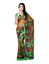 Ambaji Brown Chiffon Printed Saree Sari Sarees
