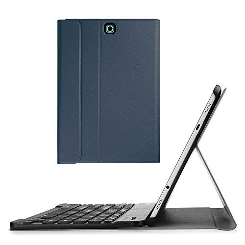S2 Bluetooth (Fintie Blade X1 Samsung Galaxy Tab S2 9.7 Bluetooth Tastatur Hülle Keyboard Case - Ultradünn leicht SmartShell Ständer Schutzhülle mit magnetisch abnehmbarer drahtloser deutscher Bluetooth Tastatur für Samsung Galaxy Tab S2 T810N / T815N / T813N / T819N 24,6 cm (9,7 Zoll) Tablet, Marineblau)