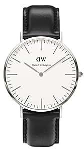Daniel Wellington 0206DW-0405SET - Mouvement Cristal de roche - Affichage Analogique - Bracelet Cuir Noir et Cadran Beige - Homme