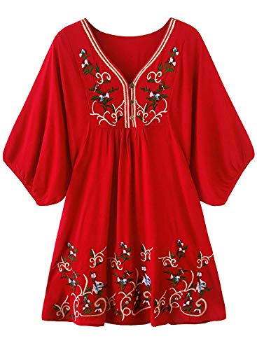 FUTURINO Damen Sommerkleid Bohemian Stickerei Floral Tunika Shift Bluse Flowy Minikleid (L, Rot) (Damen Shift Kleid)