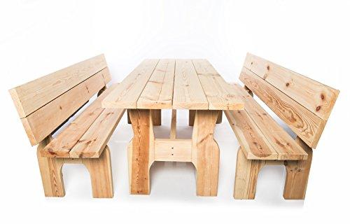 MEGA HOLZ Massive Gartengarnitur Sitzgruppe Sitzgarnitur Schweden - 180 cm - Vollständig montiert - Unikat