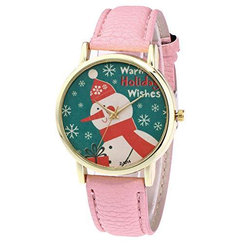 Keepwin Weihnachtsfrauenuhr, Netter Schneemann Gedruckte Vorwahlknopf Mode Jugendliche Quarz Glasuhr (Rosa)