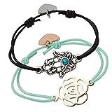 Chakra Naturals Armbänder - Set mit 2 verstellbaren Kordelarmbändern mit hochwertiger Zinklegierung - Rose & Hand der Fatima