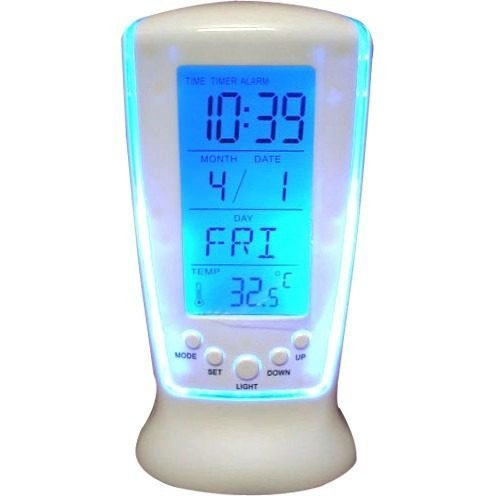 R Dabhi Square Multifunctional Digital White Clock 510 Calendar Alarm Thermometer  available at amazon for Rs.250