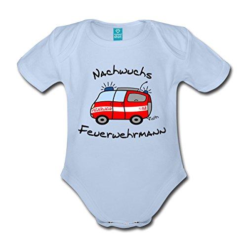 feuerwehrstrampler Spreadshirt Nachwuchs Feuerwehrmann Baby Bio-Kurzarm-Body, 68 (3-6 M.), Sky