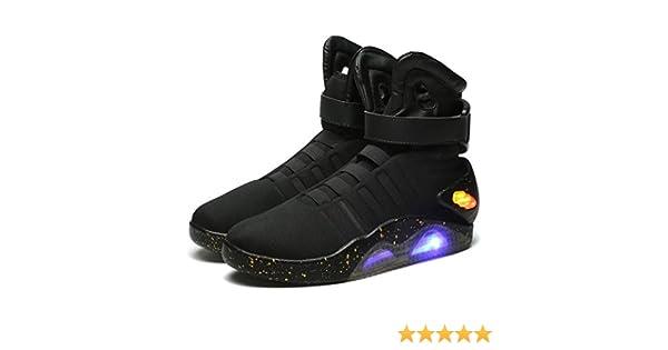 Licht Halloween Zubehör McFly Cosplay Kostüm Schuhe Marty Herren Oben Film Stiefel Sneakers Sport Schwarz yY6bfg7